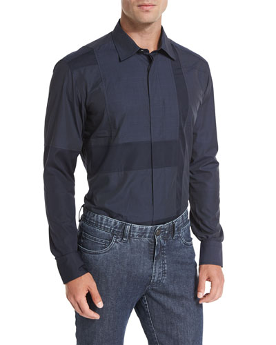 Patchwork Sport Shirt, Navy