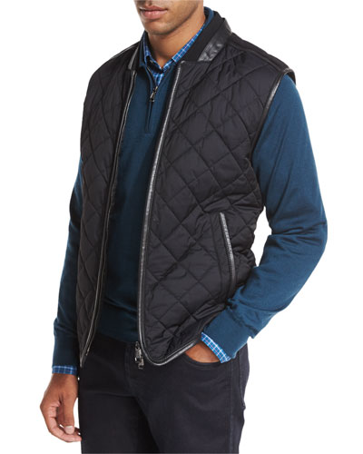 Leather-Trim Quilted Vest, Black