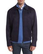 Wool-Blend Plaid Blouson Jacket, Navy