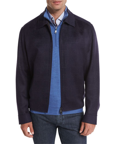 Wool-Blend Plaid Blouson Jacket, Navy