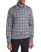 Cashmere-Silk Box Jacquard Sweater, Light Gray