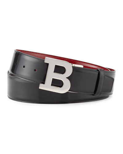 Reversible Leather B-Buckle Belt, Black/Red
