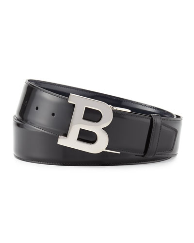 Reversible Leather B-Buckle Belt, Black/New Blue