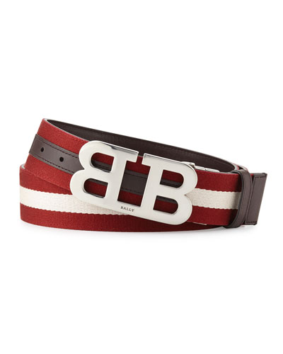 Mirror B Reversible Web-Leather Belt, Brown