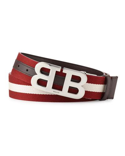 Mirror B Reversible Web-Leather Belt, Brown