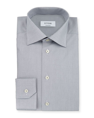 Contemporary-Fit Micro-Print Woven Dress Shirt, Navy