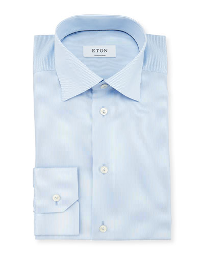 Contemporary-Fit Bengal-Striped Woven Dress Shirt, Light Blue