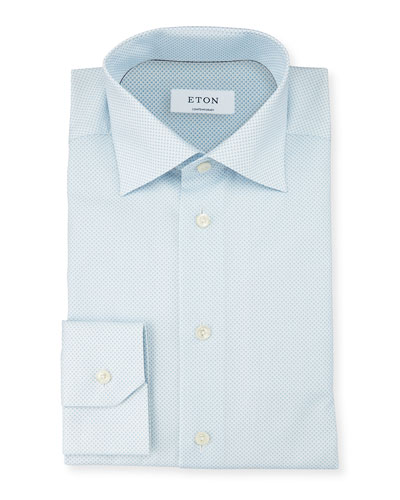 Contemporary-Fit Micro-Print Woven Dress Shirt, Light Blue