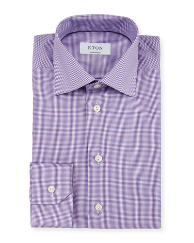 Contemporary-Fit Micro-Gingham Woven Dress Shirt, Purple