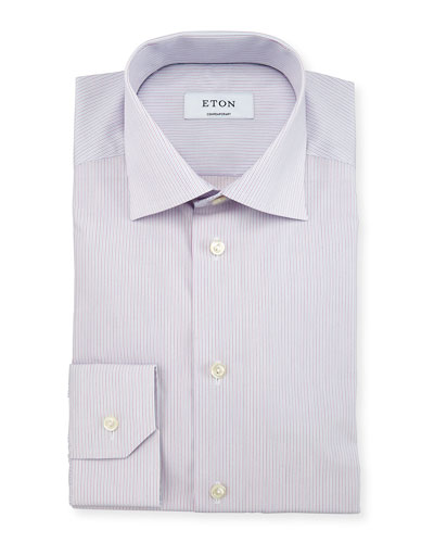 Contemporary-Fit Micro-Striped Woven Dress Shirt, Light Purple/Blue