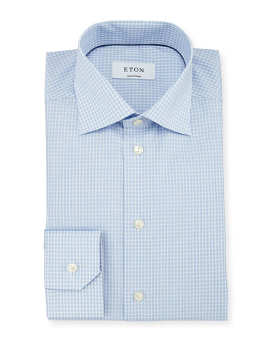 Contemporary-Fit Dobby-Check Woven Dress Shirt, Light Blue