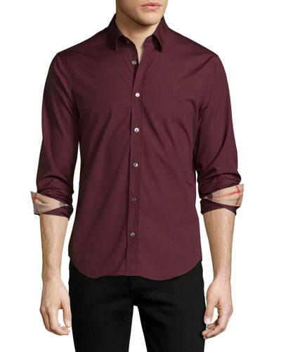 Cambridge Check-Detail Sport Shirt, Oxblood
