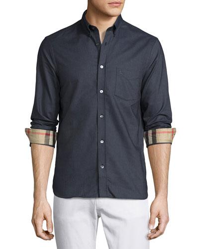 Long-Sleeve Oxford Shirt w/Check Revers, Charcoal