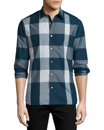 Graphic Check Sport Shirt, Navy