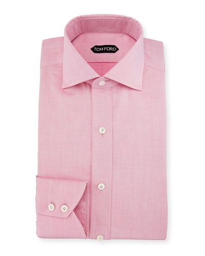 Slim-Fit Iridescent Barrel-Cuff Dress Shirt, Pink