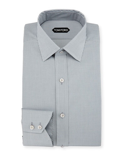Slim-Fit Micro-Check Barrel-Cuff Dress Shirt, Gray