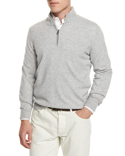Cashmere Quarter-Zip Pullover Sweater, Light Gray