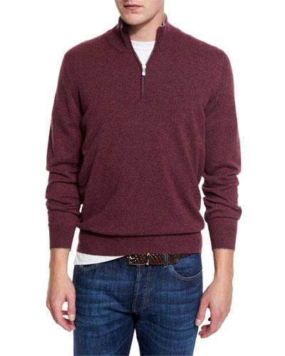 Cashmere Quarter-Zip Pullover Sweater, Burgundy