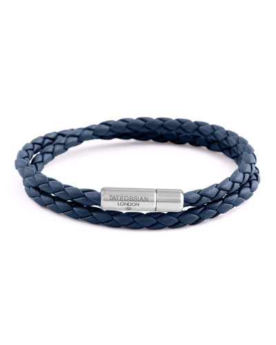 Men's Braided Leather Double-Wrap Bracelet, Size M, Navy