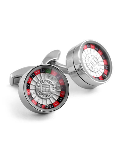 Rhodium Roulette Cuff Links
