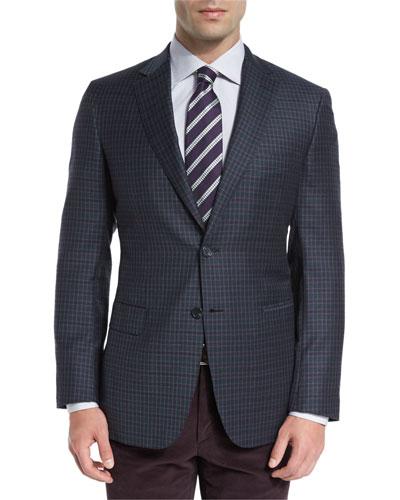 Check Two-Button Sport Coat, Green/Purple