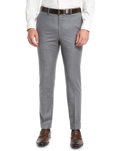 Classic-Fit Flannel Trousers, Light Gray