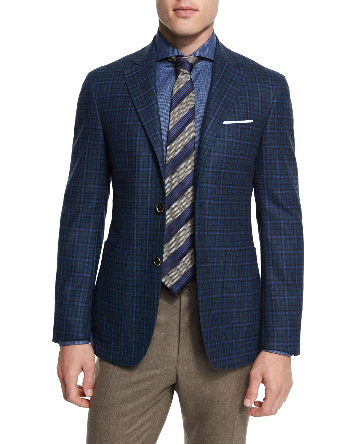 Plaid Two-Button Sport Coat, Blue/Green