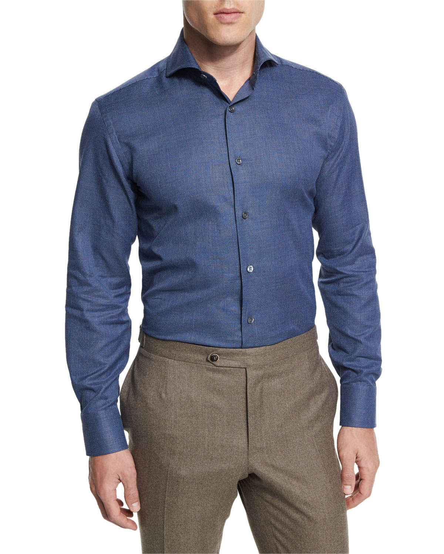 Textured Solid Long-Sleeve Sport Shirt, Indigo