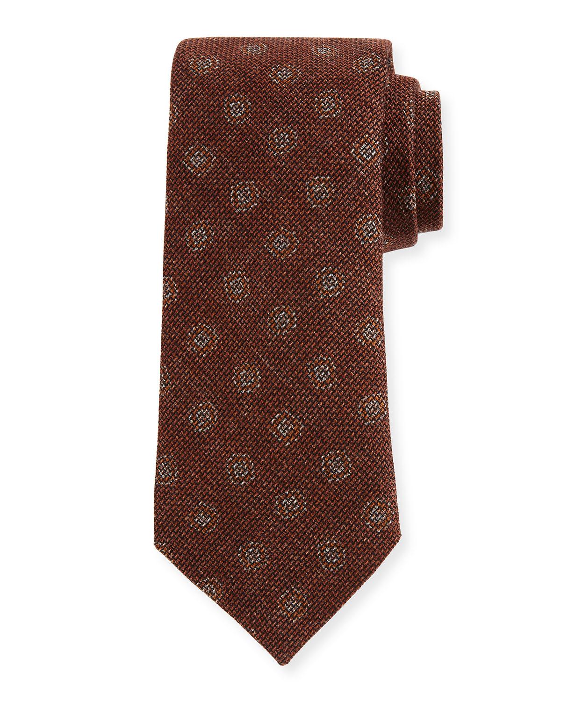 Large Dot-Print Woven Tie, Rust