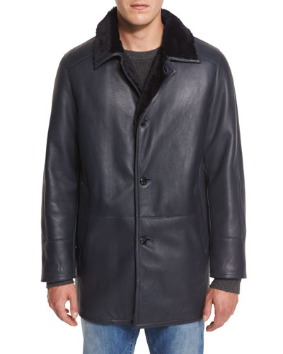 Shearling Fur-Lined Leather Jacket, Navy