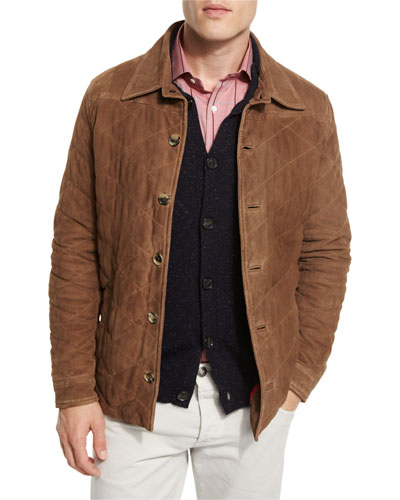 Quilted Suede Shirt Jacket, Tan