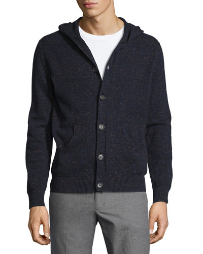 Cashmere Donegal Hooded Cardigan, Navy