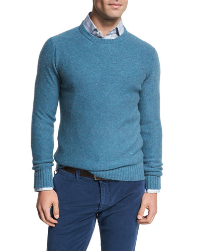 Cable-Knit Cashmere Sweater, Aqua