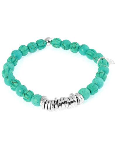 Men's Round Turquoise Beaded Bracelet