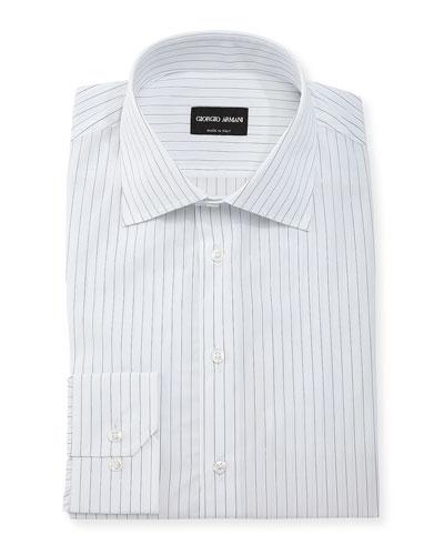 Hairline-Stripe Long-Sleeve Dress Shirt