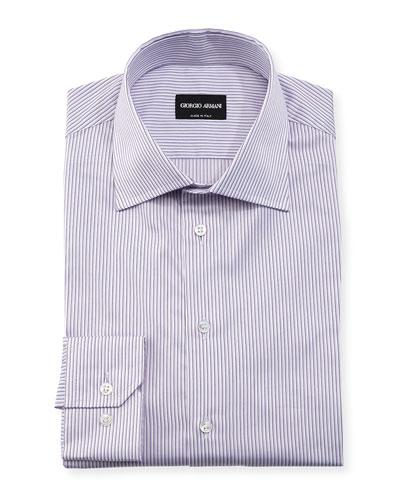 Shadow-Stripe Long-Sleeve Dress Shirt