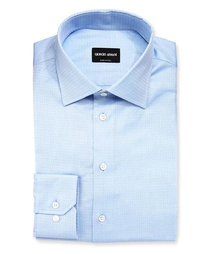 Textured Solid Long-Sleeve Dress Shirt, Light Blue