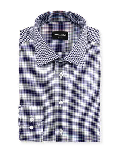 Micro-Gingham Long-Sleeve Dress Shirt, Navy