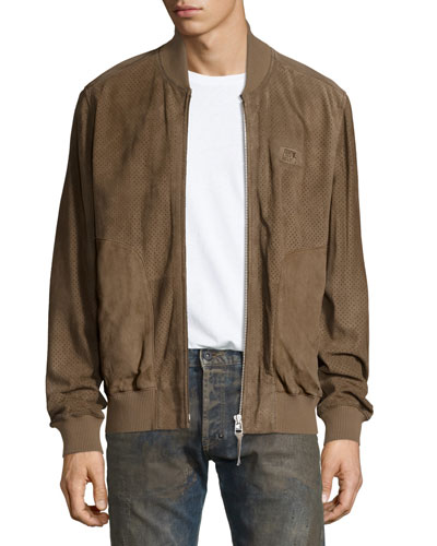 Server Perforated Suede Bomber Jacket