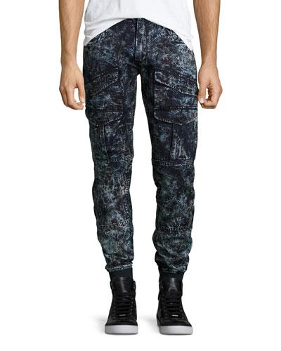 Bleached Astronaut Denim Jogger Pants, Dark Indigo