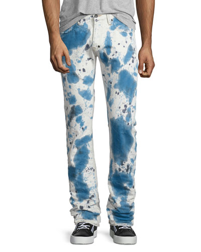 Demon Bleached Slim Denim Jeans, Dark Indigo