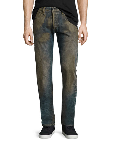 Extracting Distressed Slim-Straight Jeans, Indigo