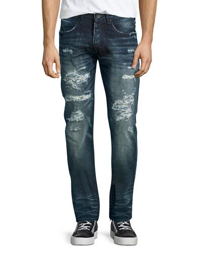 Demon Distressed Technics Denim Jeans, Dark Indigo