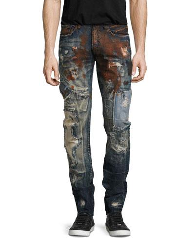 Artifact Distressed Slim-Straight Jeans, Dark Indigo