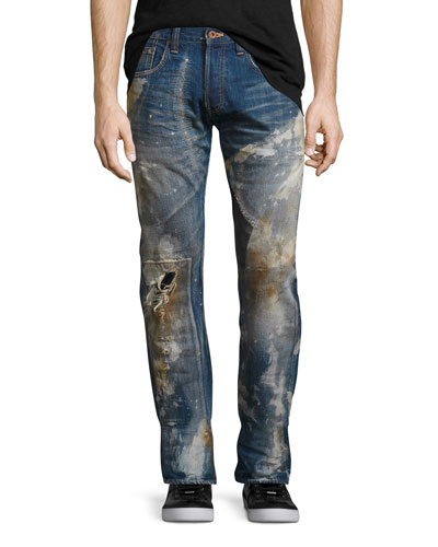 Noir Stained & Distressed Slim-Straight Jeans, Blue