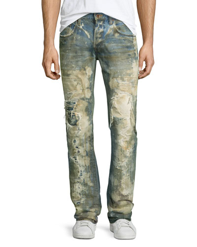 Noir Bleached Super-Destroyed Jeans, Light Blue