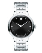40mm Luno Sport Stainless Steel Watch, Black/Silver
