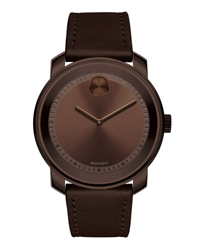 42.5mm Bold Watch with Leather Strap, Chocolate