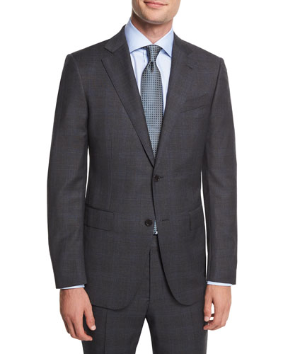 Wool Plaid Two-Piece Suit, Charcoal