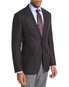 Boucle Plaid Sport Coat, Black/Burgundy